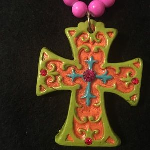 Bright Green Cross Necklace